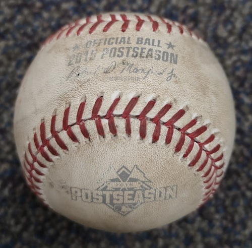 Photo of Authenticated Game Used Postseason Baseball - Pitch in the Dirt by Marcus Stroman against Josh Hamilton (ALDS Game 2: Oct 9, 15 vs TEX). Top 1.
