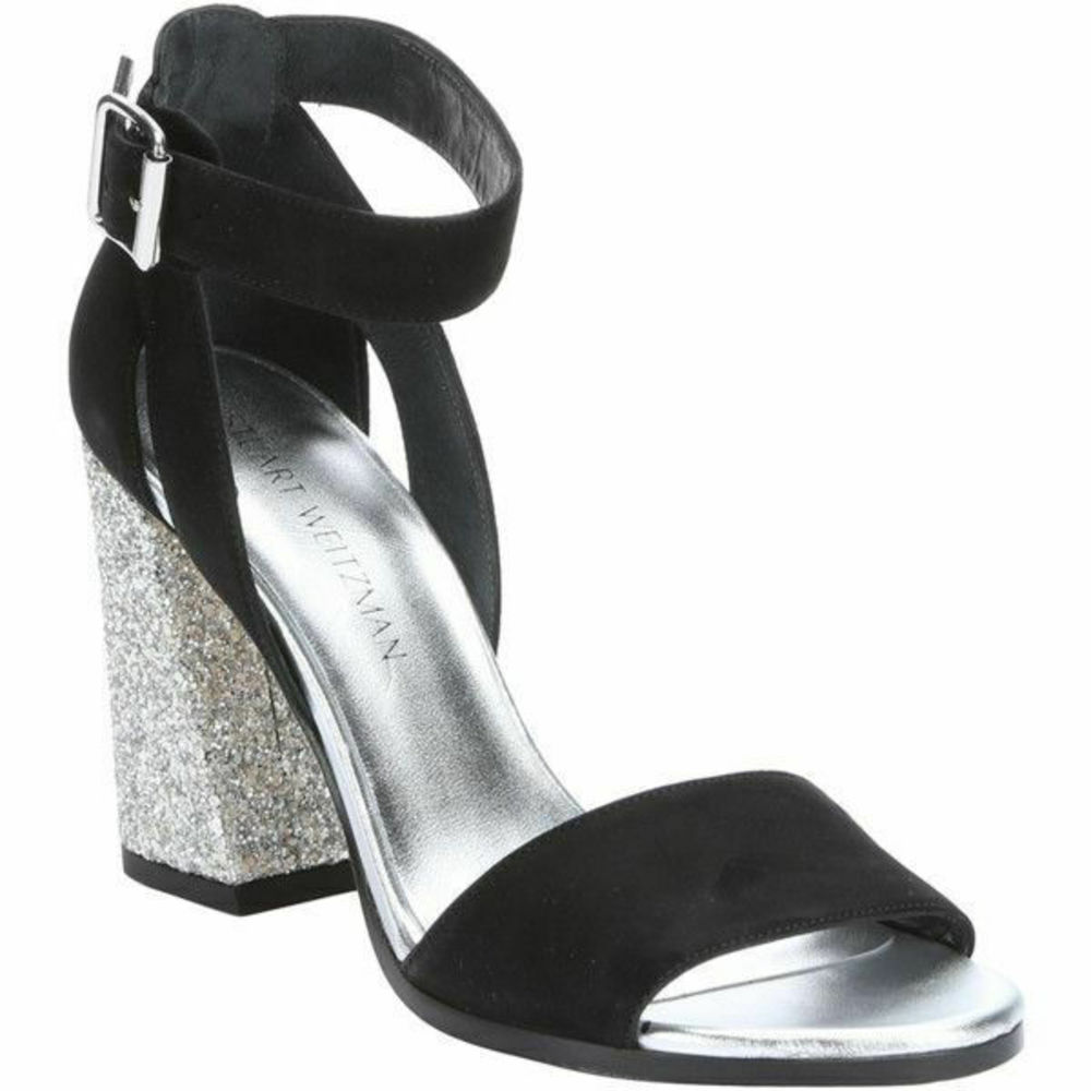 Photo of Stuart Weitzman Glitter Block Black Suede Heels