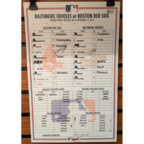 David Ortiz Autographed September 12, 2016 Game Used Line-Up Card