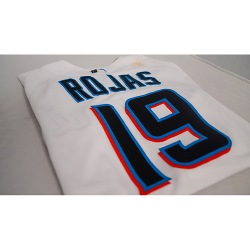 """Photo of Miguel Rojas Game-Used Jersey with Specialty """"Social Justice"""" Air Force 1 Sneakers Designed by Julian Reams - @jubeanski - Jersey Size 42"""