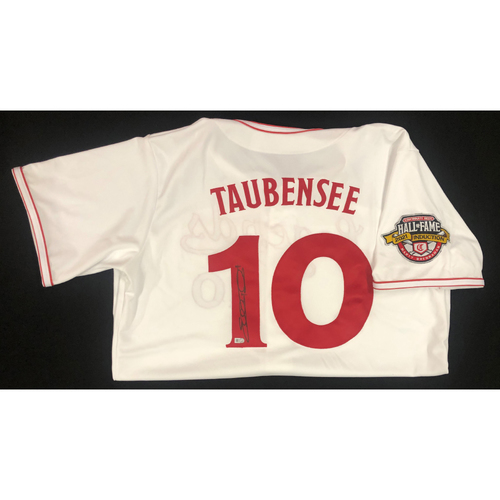 Photo of Eddie Taubensee AUTOGRAPHED Game Used Jersey: Reds Hall of Fame Legends Game