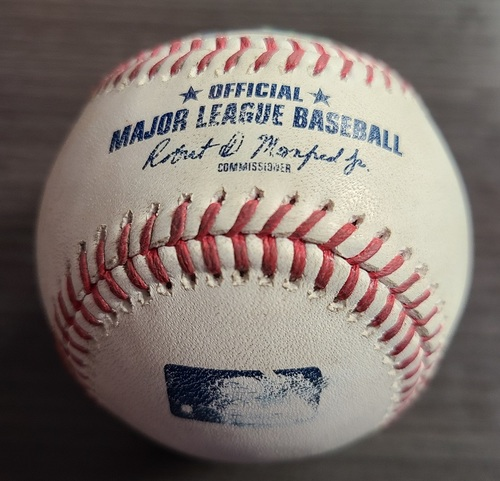 Photo of Authenticated Game Used Baseball: Strikeout by Adam Cimber against Andrew Benintendi (Jul 31, 2021 vs KCR). Top 9.