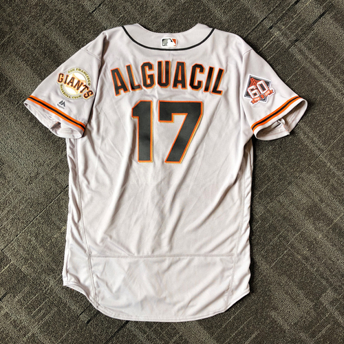 Photo of San Francisco Giants - Mother's Day Game-Used Jersey - #17 Jose Alguacil (size 46)