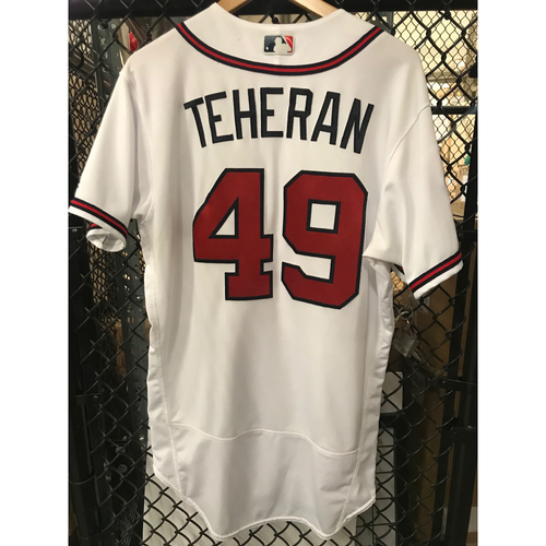 Photo of Julio Teheran Game-Used Home White Jersey - SunTrust Park Inaugural Season Patch - 5/1/17