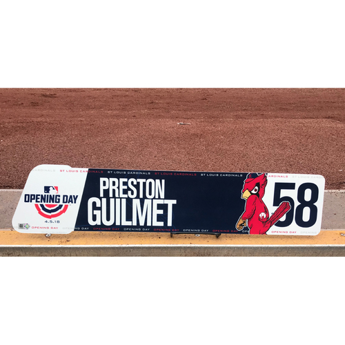 Photo of Cardinals Authentics: Team-Issued Preston Guilmet 2018 Opening Day Locker Tag