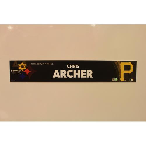 2019 Game Used Locker Nameplate - Chris Archer