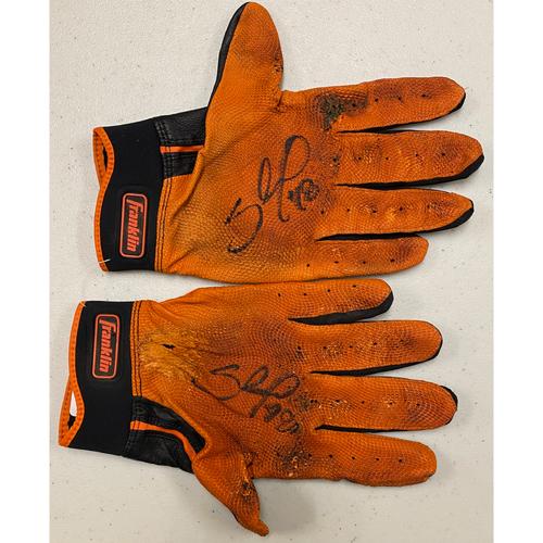 Photo of 2020 Black Friday Sale - #48 Pablo Sandoval Game Used Autographed Black & Orange Franklin Batting Gloves used on 4/11/19 vs. COL