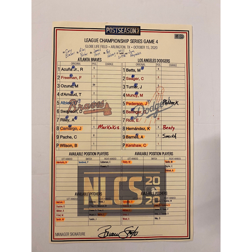 Photo of 10/15/20 Game Used Lineup Card - NLCS Game 4 - Braves Win 10-2