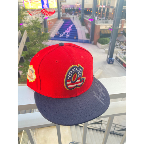 Photo of Austin Riley MLB Authenticated Autographed 2019, 4th of July Hat