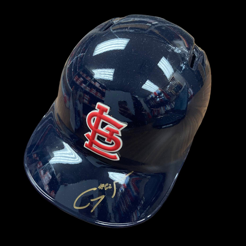 Photo of Genesis Cabrera Autographed Game Used Navy Batting Helmet (STL @ PHI, 5/29/19, MLB DEBUT, 2019 Postseason patch, Size 7 1/8)