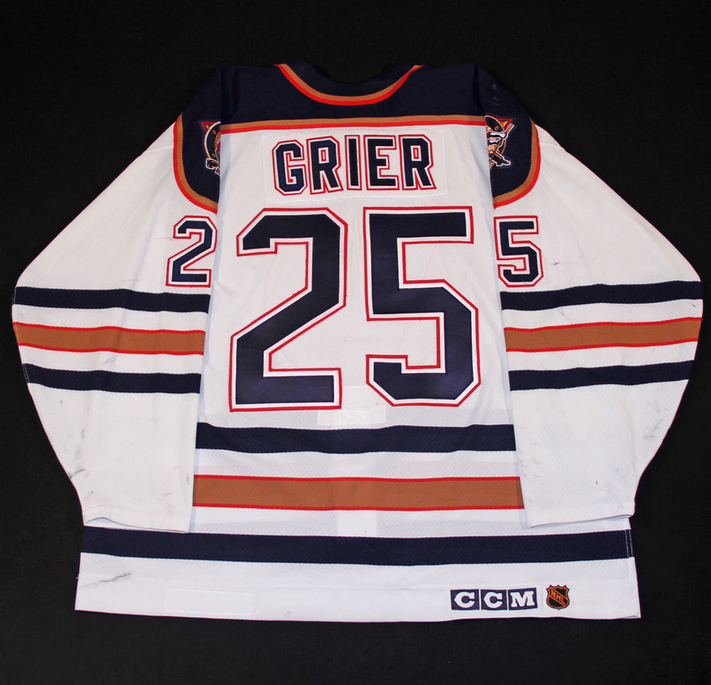 Mike Grier  25 - 1996-97 Edmonton Oilers Game Worn White CCM Set  3 Jersey 1a4ea60f9