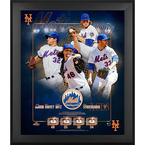 Photo of New York Mets Aces Plaque - Features Game Used Baseballs Thrown by Matt Harvey, Jacob deGrom, Noah Syndergaard and Steven Matz