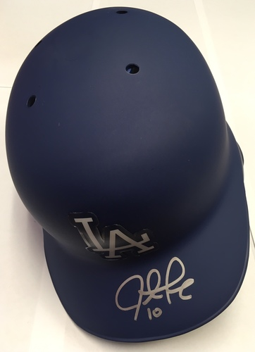 Photo of Justin Turner Autographed Dodgers Batting Helmet