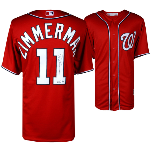 Photo of Ryan Zimmerman Washington Nationals Autographed Majestic Red Replica Jersey
