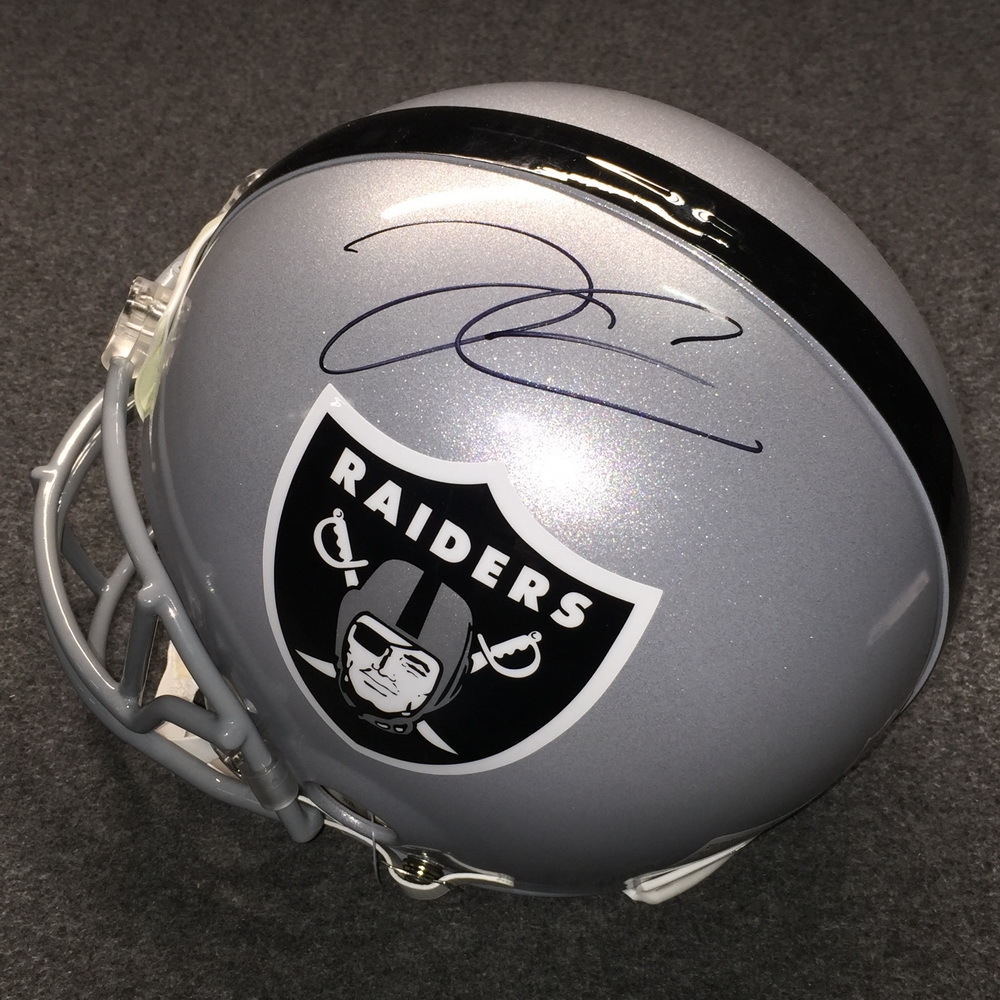 California Fire Relief - Raiders Derek Carr signed Raiders proline helmet