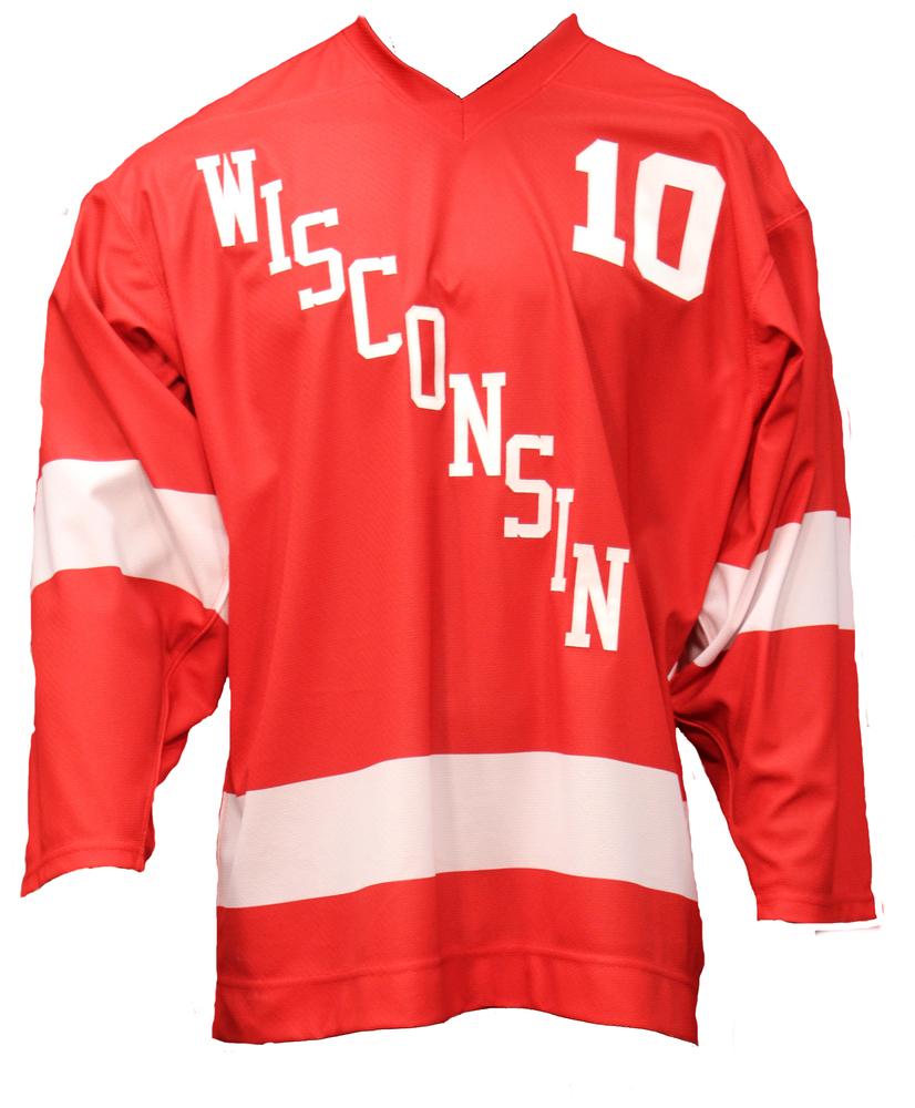 Wisconsin Hockey Mark Johnson Commemorative Red Jersey - Size 52 (1 of 2)
