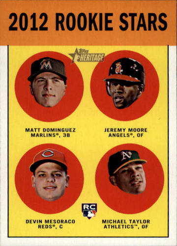 Photo of 2012 Topps Heritage #407 Matt Dominguez RC/Jeremy Moore RC/Devin Mesoraco RC/Michael Taylor RC