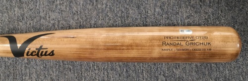 Photo of Authenticated Game Used Cracked Bat: Randal Grichuk Flies Out to LF against Tom Eshelman (Aug 4, 19 vs BAL). Top 5.