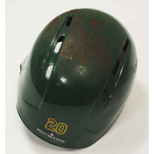 Photo of Mark Canha Game-Used Kelly Green Regular Season and AL Wild Card Game Helmet