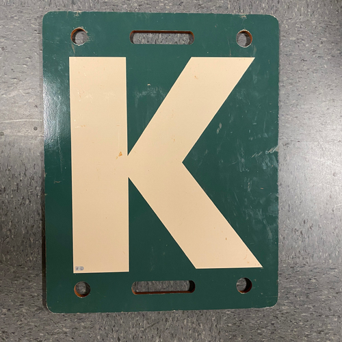 Photo of 2019 Cream K Board - Used on 9/29 vs. LAD - Bruce Bochy's Final Game - T-4: Enderson Franco to Max Muncy