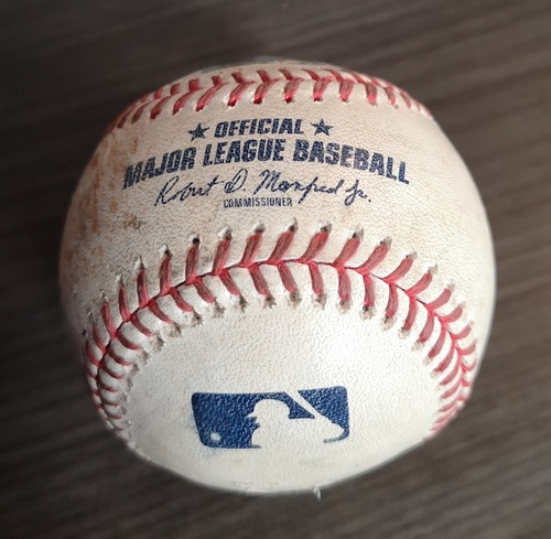 Photo of Authenticated Game Used Baseball: Strikeout by Trent Thornton against Marcus Semien (Apr 28, 19 vs OAK). Top 5. Elvis Luciano became Youngest Blue Jay to Win a Game.