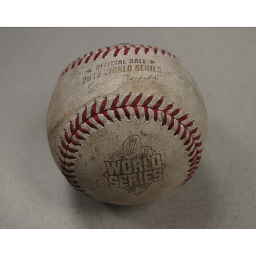 Photo of Game-Used Baseball - 2015 World Series - Game 2 - Pitcher: Jacob deGrom, Batter: Ben Zobrist, Pitcher: Jacob DeGrom - Pitch in Dirt - 1st Inning