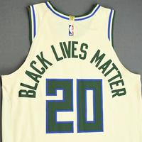 Marvin Williams - Milwaukee Bucks - Game-Worn City Edition Jersey - 2019-20 NBA Season Restart with Social Justice Message