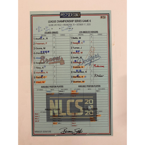 Photo of 10/17/2020 Game Used Lineup Card - NLCS Game 6 - Dodgers Win 3-1