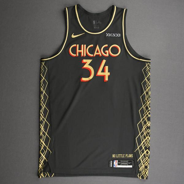 Image of Wendell Carter Jr. - Chicago Bulls - City Edition Jersey - Recorded a Double-Double - 2020-21 NBA Season