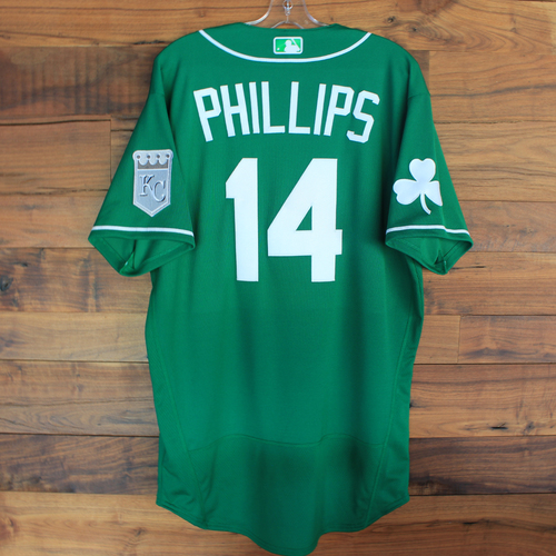 Photo of Team-Issued 2020 St. Patrick's Day Jersey: Brett Phillips #14 - Size 46