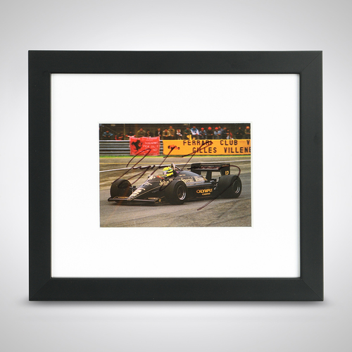 Photo of Ayrton Senna 1985 Lotus Framed Signed Postcard