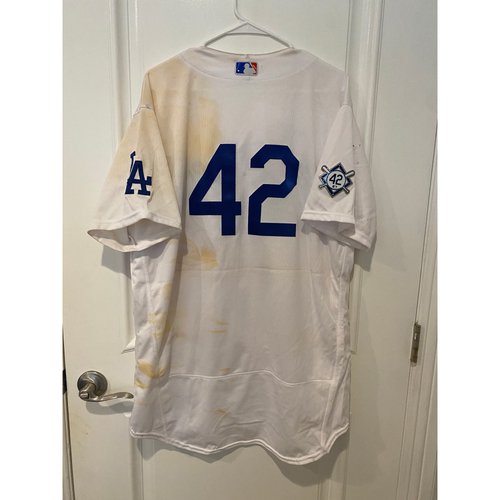 Photo of Julio Urias Game-Used Jackie Robinson Day Jersey - Size 48