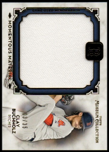 Photo of 2014 Topps Museum Collection Momentous Material Jumbo Relics Gold #MMJRCBU Clay Buchholz