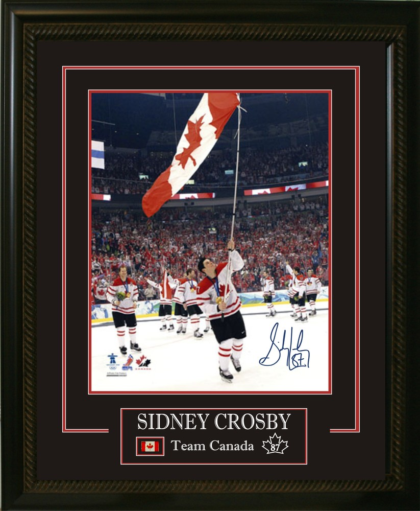 Sidney Crosby - Signed & Framed 16x20 Etched Mat - Team Canada 2010 Carrying The Flag #FlyTheFlag