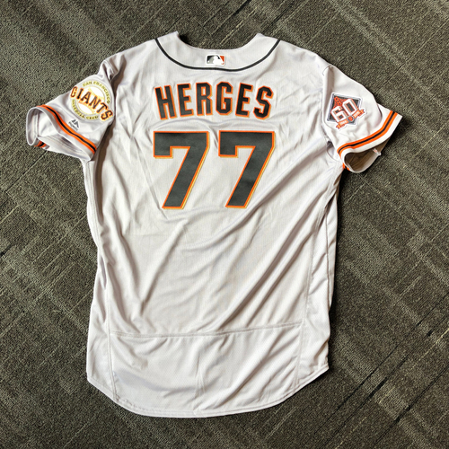 Photo of San Francisco Giants - Mother's Day Game-Used Jersey - #77 Matt Herges (size 50)