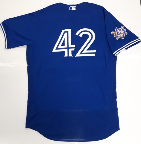 Photo of CHARITY AUCTION: Authenticated Game Used #42 Jersey - Luke Maile (April 17, 2018. May 3, 2018: 0-for-0 with 1 Walk and 1 Run). Size 46.