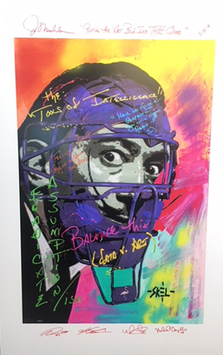 """Photo of Joe Maddon Artwork Print -- Autographed by Joe Maddon, Kyle Schwarber, Willson Contreras, Victor Caratini and Mike Borzello -- Putting the art back into thee game"""""""