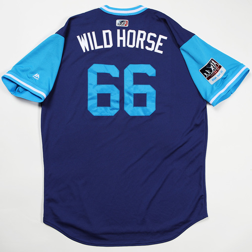 "Photo of Yasiel ""Wild Horse"" Puig Los Angeles Dodgers Game-Used 2018 Players' Weekend Jersey"