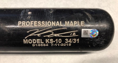 Photo of Kyle Schwarber Game-Used Cracked Bat -- Reynaldo Lopez to Kyle Schwarber, Ground Out, Top 7 -- Cubs at White Sox -- 9/21/18