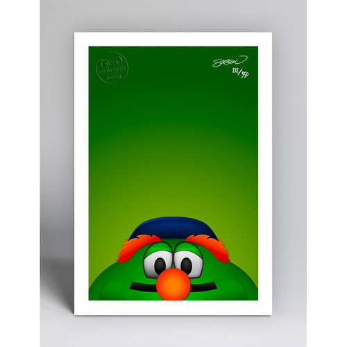 Photo of Wally the Green Monster - Limited Edition Minimalist Mascot Art Print by S. Preston  - Boston Red Sox