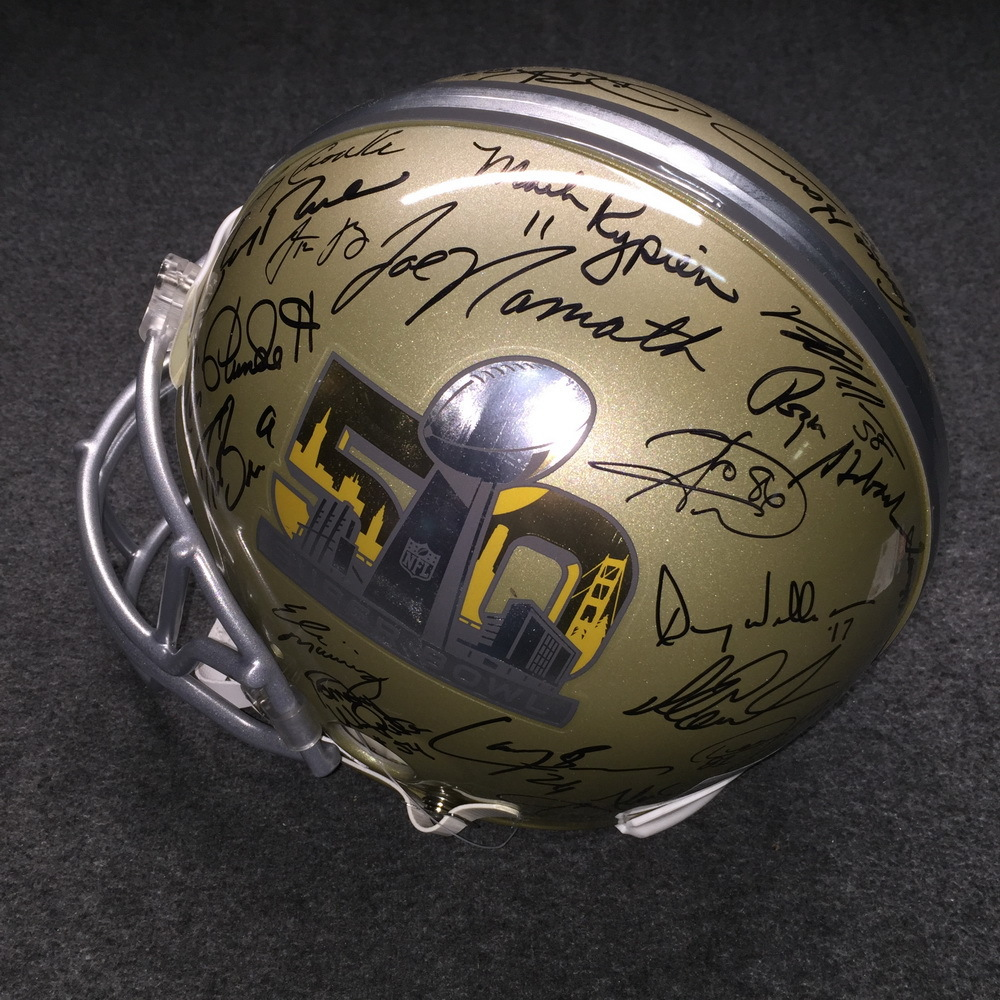 PCF- SB50 multi signed proline helmet signed by all living SB MVP's (Including Tom Brady, Peyton Manning, Aaron Rodgers, Joe Namath, Terry Bradshaw, Joe Montana, Jerry Rice, Drew Brees, Emmitt Smith)