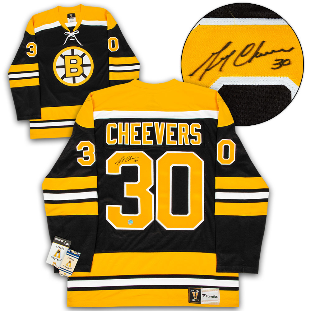 Gerry Cheevers Boston Bruins Autographed Stanley Cup Fanatics Vintage Hockey Jersey