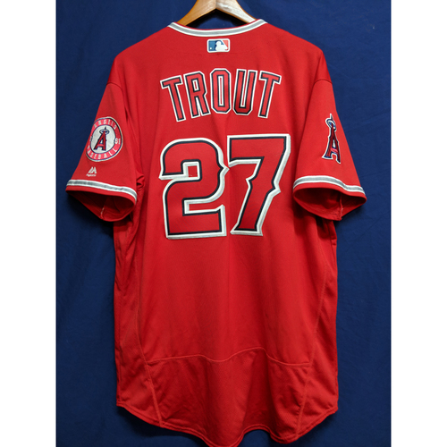 Photo of Mike Trout Game-Used Alternate Red Jersey - Rangers at Angels - 6/2/18 (Home Run Game)