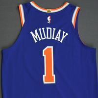 Emmanuel Mudiay - New York Knicks - 2018-19 Season - London Games - Game-Worn 1st Half Blue Icon Edition Jersey
