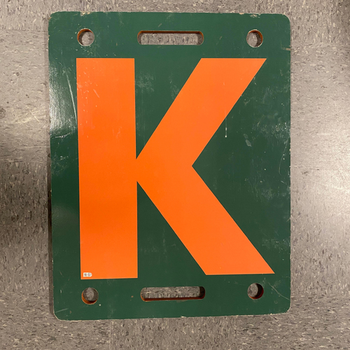 Photo of 2019 Orange K Board - Used on 9/29 vs. LAD - Bruce Bochy's Final Game - T-8: Jandel Gustave to Jedd Gyorko & 9/24 - Madison Bumgarner's Final Start