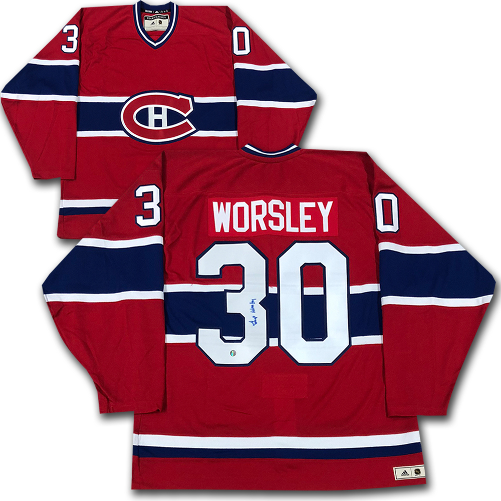 Gump Worsley Autographed Montreal Canadiens adidas Team Classics Authentic Vintage Jersey