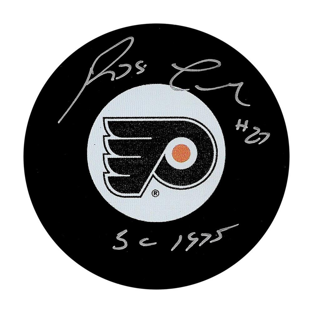 Reggie Leach Autographed Philadelphia Flyers Puck w/SC 1975 Inscription