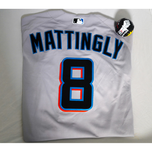 """Photo of Don Mattingly Team-Issued Jersey with Specialty """"Juneteenth"""" Baseball Designed by Julian Reams - @jubeanski - Jersey Size 44"""