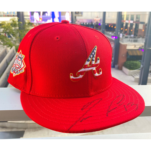 Photo of Ronald Acuna Jr. MLB Authenticated Autographed 2018, 4th of July Hat
