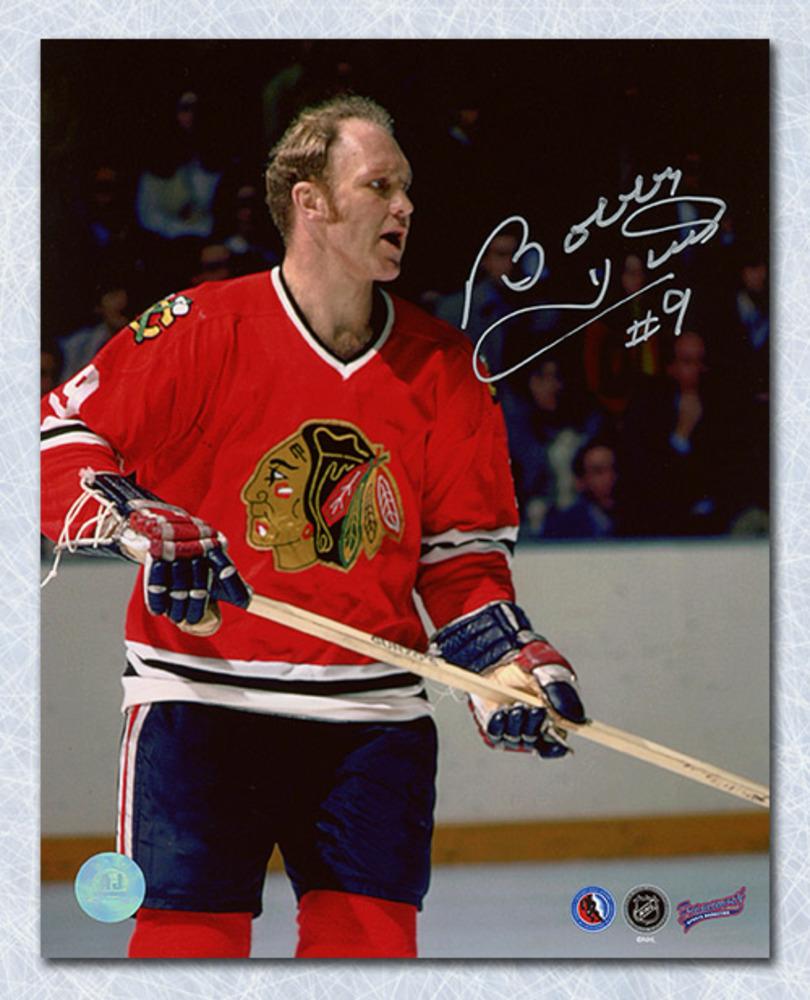 Bobby Hull Chicago Blackhawks Autographed On Ice Close Up 8x10 Photo